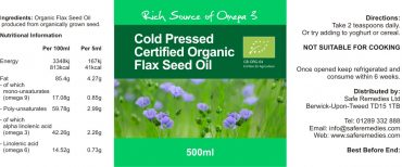 Flaxseed Oil Label