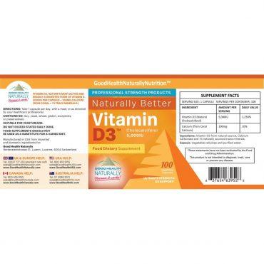 Vitamin D3 Label